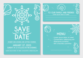 Carte d'invitation de mariage de plage