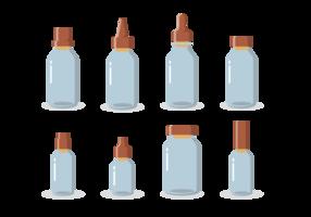 Vecteur d'une bouteille avec des bouchons