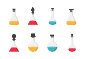 Flasks with Stoppers Icons Vector
