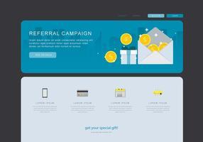 Contenu marketing par renvoi, communication commerciale commerciale. Modèle Web vecteur