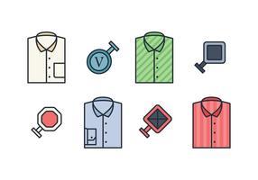 Ensemble vectoriel de chemises et boutons de manchette