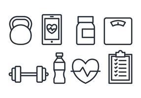 Ensemble d'icônes de fitness vecteur