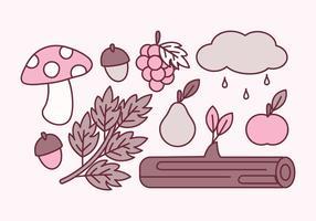vecteur éléments mignons d'automne