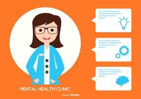 Femme, psychologue, Illustration, texte, bulles vecteur