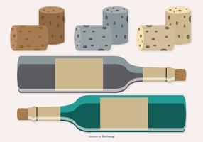 Bouteilles de vin avec bouchons vecteur