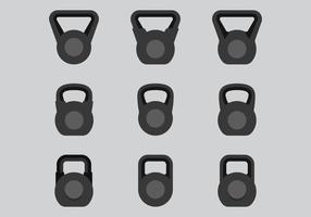 Icônes de Kettlebell vecteur