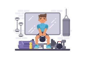 Man faire une formation en salle de gym avec bouilloire vecteur