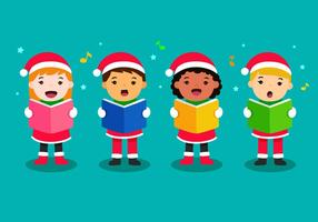 Enfants chantant des chants de Noël vecteur