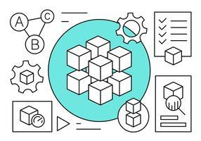 Icônes linéaires de la technologie Blockchain vecteur