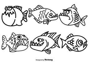 Ensemble de poissons piranha à dessin animé vecteur