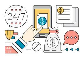 Éléments vectoriels linéaires de finance et de banque vecteur