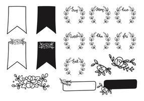 Élément de journal floral Bullet dessinés à la main vecteur