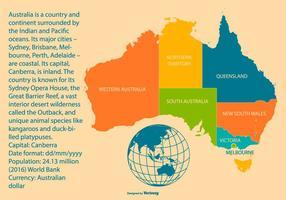 Carte colorée de l'Australie avec les régions