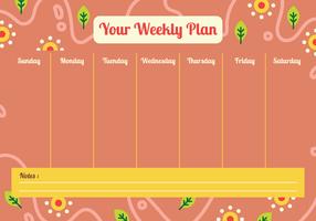 Votre calendrier hebdomadaire vecteur