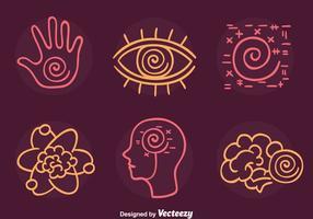 Hypnose élément ligne icônes vecteur