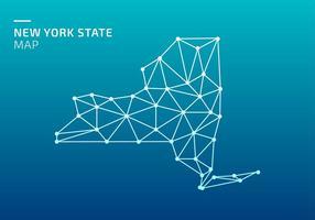 Carte de l'État de New York Lowpoly Net Free Vector