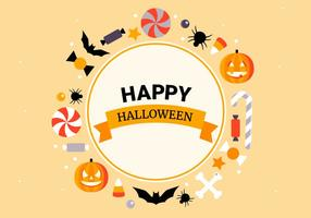 Collection d'éléments vectoriels gratuits plat Halloween vecteur