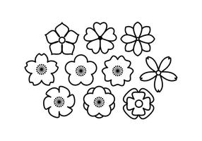 Vecteur de l'icône de la ligne de fleurs gratuit
