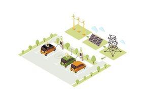 station de recharge pour véhicule électrique isométrique