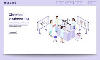 page web isométrique de génie chimique vecteur
