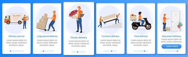 écran des applications mobiles d'intégration du service de livraison vecteur
