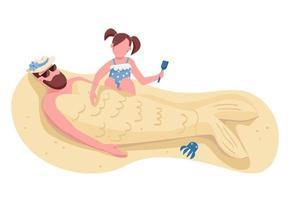 fille enterrant papa dans le sable plat vecteur