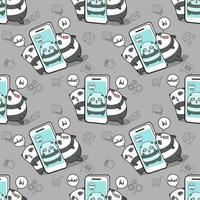 Prisonnier de panda kawaii sans couture dans le modèle de téléphone mobile