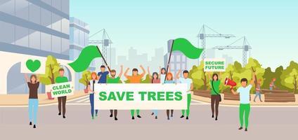 sauver les arbres protestation sociale vecteur