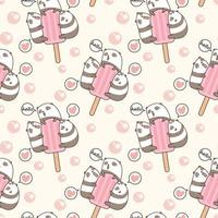 pandas kawaii sans couture avec motif de barre de crème glacée