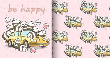 personnages de panda kawaii sans soudure et motif de voiture jaune vecteur