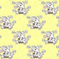 seamless, kawaii, panda, et, amis, dessin animé, style, modèle