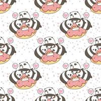 pandas kawaii sans couture avec motif de beignet rose