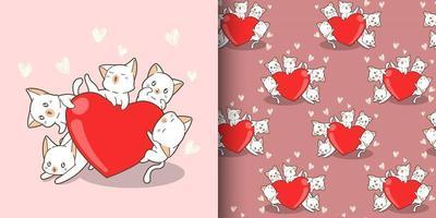 modèle sans couture de caractères de chat kawaii serrant grand coeur