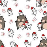ours modèle sans couture et 4 personnages de chat à Noël vecteur