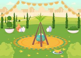 repas de fête dans un parc public vecteur