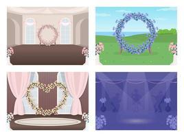 ensemble de salle de mariage décoré vecteur