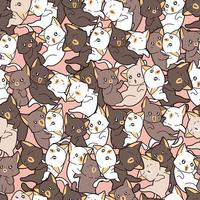 modèle sans couture de nombreux chats adorables différents vecteur