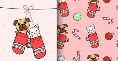 modèle sans couture kawaii chien et chat à l'intérieur des gants