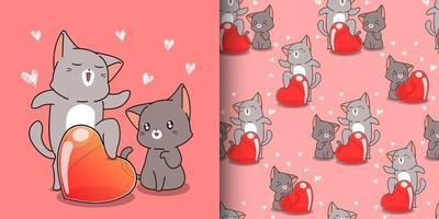 chat kawaii modèle sans couture criant d'amour vecteur