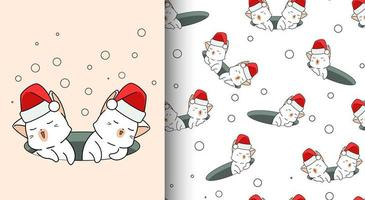 chats kawaii modèle sans couture portant bonnet de Noel vecteur