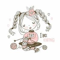 la fille est engagée dans la couture tricotant une écharpe