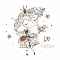 jolie petite princesse dans un style doodle