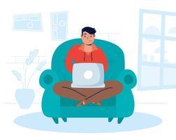 homme utilisant l & # 39; ordinateur portable à la maison