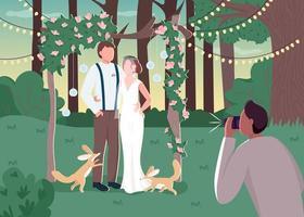 Couple de jeunes mariés en photozone rustique