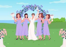 mariée avec demoiselles d'honneur vecteur