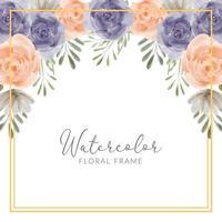 cadre floral aquarelle peint à la main avec illustration de fleurs roses vecteur