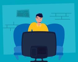 Restez à la maison avec un homme regardant la télévision