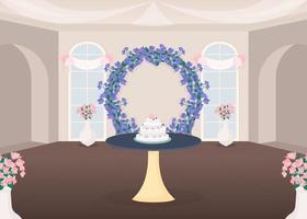 salle de banquet et gâteau