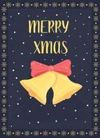 carte de voeux de cloches de Noël vecteur