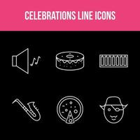 ensemble d'applications de ligne de célébration unique vecteur